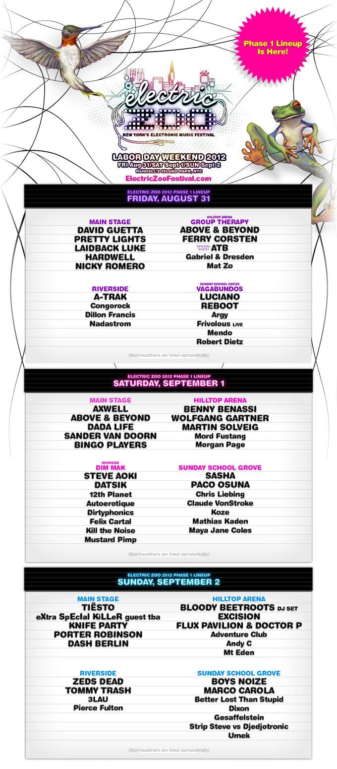 Electric Zoo 2012 Unleashes Phase 1 Lineup