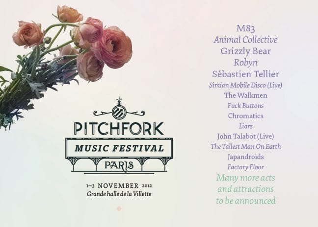 Pitchfork Festival 2012: Paris Edition Lineup and Dates