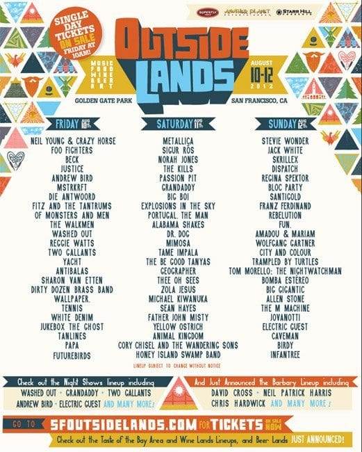 Single Day Lineups/Tickets for Outside Lands 2012