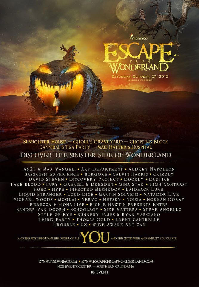 escape from wonderland lineup 2012 music festival wizard