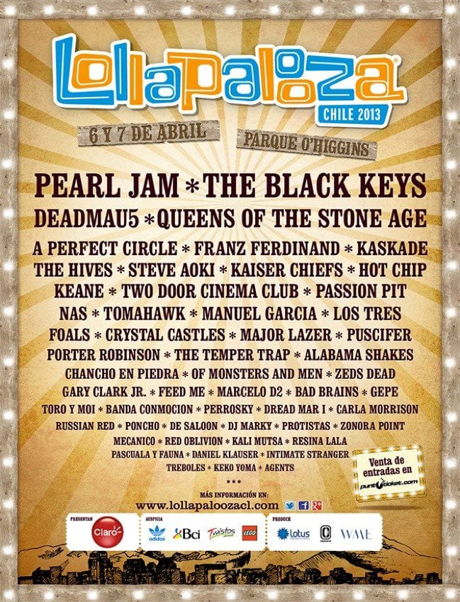 Lollapalooza Announces 2013 Lineups for Chile and Brazil!