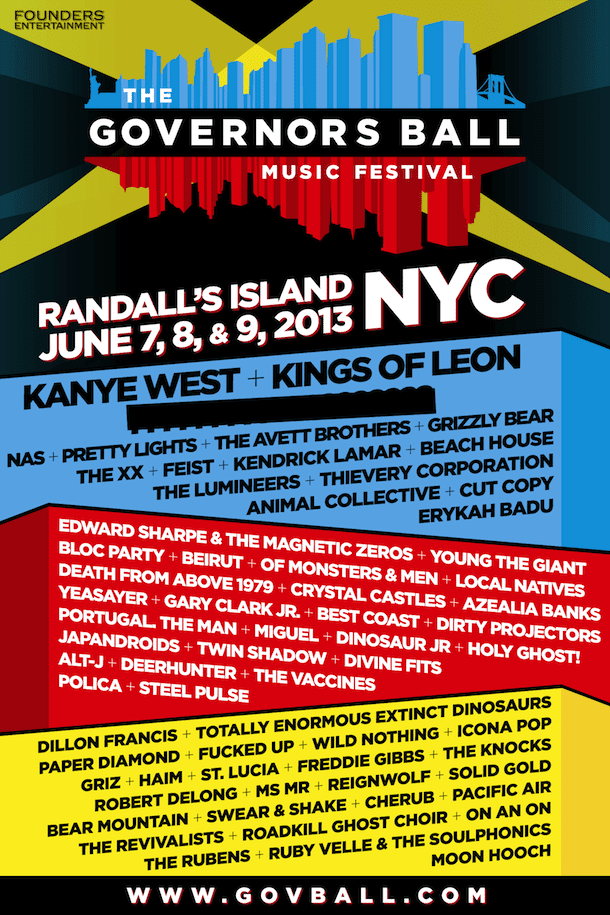 Gov Ball Full Lineup 2013