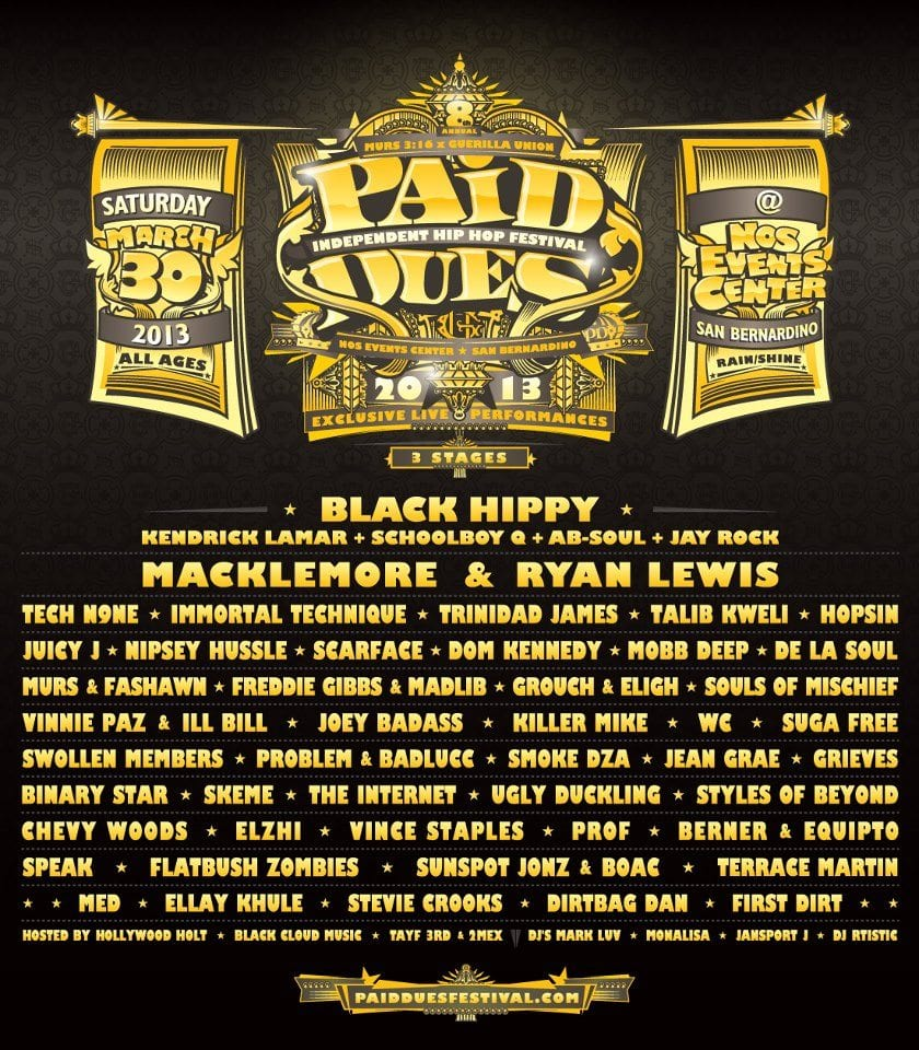 Paid Dues 2013 Lineup Poster