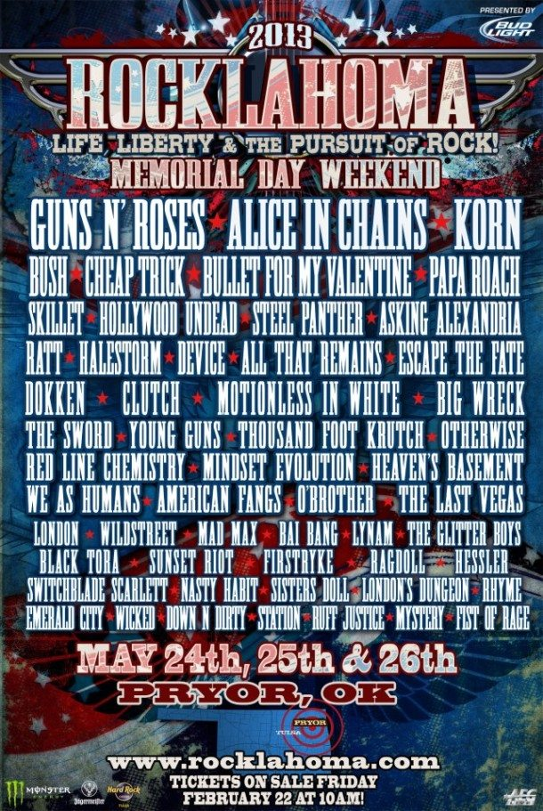 Rocklahoma 2013: G'N'R, Alice in Chains, Bush, Korn, Cheap Trick