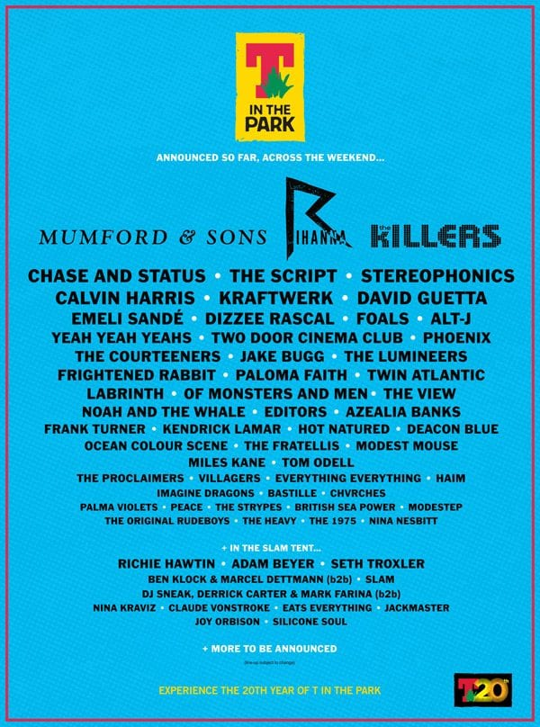 T in the Park 20th Anniversary Lineup