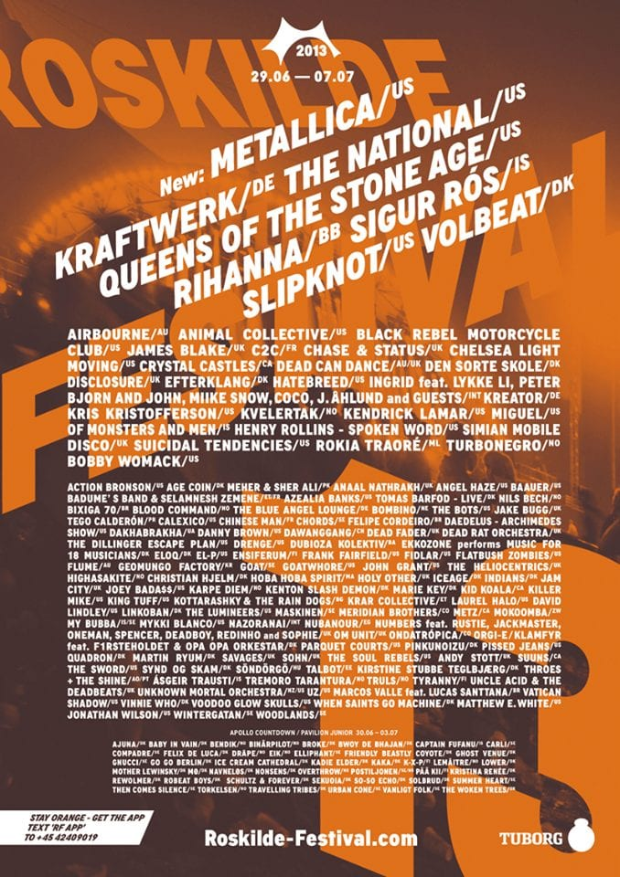 Final Lineup Poster And Additions For Roskilde 2013 Music Festival Wizard