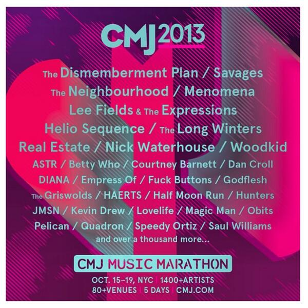 CMJ Music Marathon 2013 Drops First Lineup!