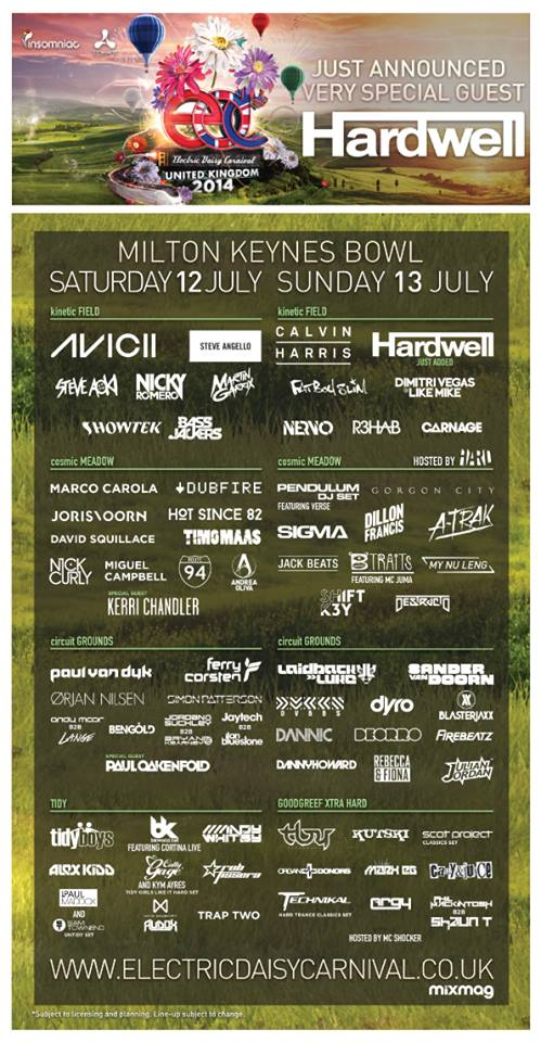 Electric Daisy Carnival UK Lineup 2014 Poster