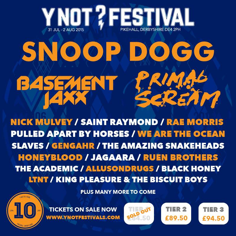 10th Anniversary Y Not Festival Lineup: Snoop Dogg, Primal Scream, Basement Jaxx