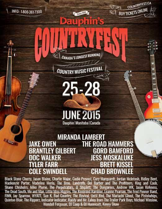 Dauphin's Countryfest 2015 Festival Poster