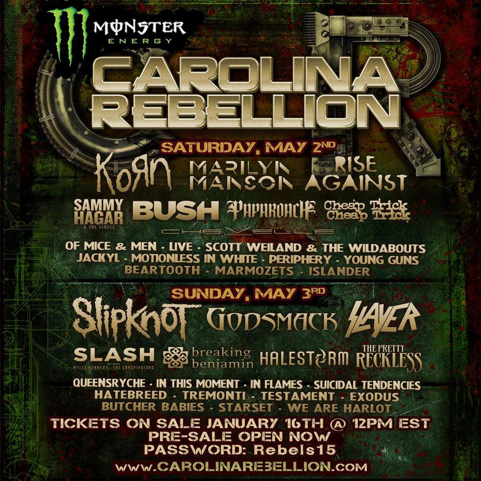 Carolina Rebellion 2015 Festival Poster