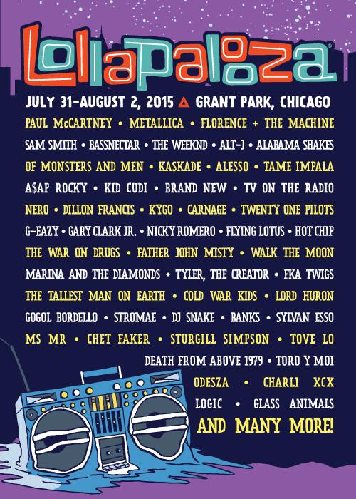 Lollapalooza Chicago 2015 Festival Poster