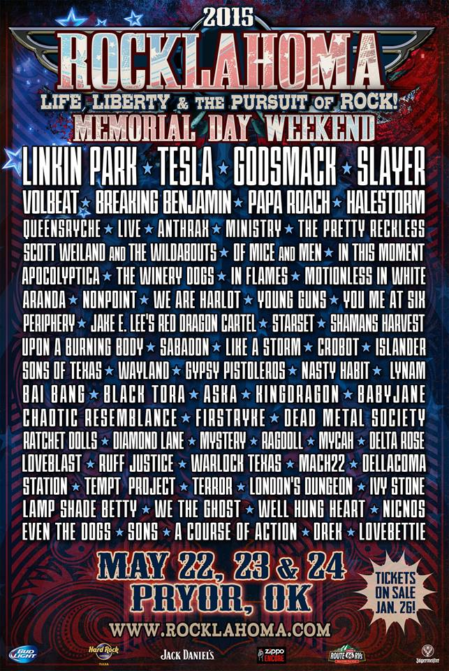 Rocklahoma 2015: Linkin Park, Slayer, Volbeat, Halestorm, Queensryche, Anthrax