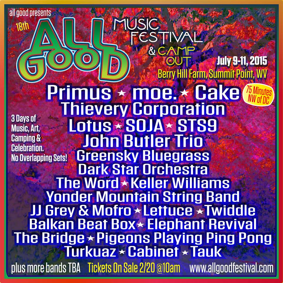 All Good Music Festival 2015 Festival Poster