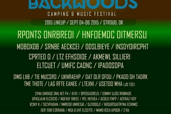Backwoods Music Festival 2015 Scrambled Lineup Poster