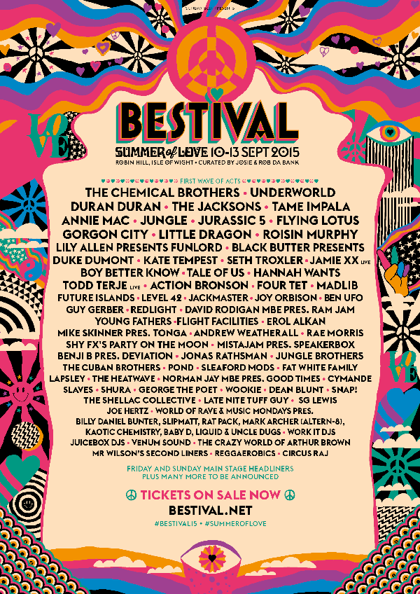 Bestival 2015 Lineup: The Jacksons, Chemical Brothers, Duran Duran, Underworld
