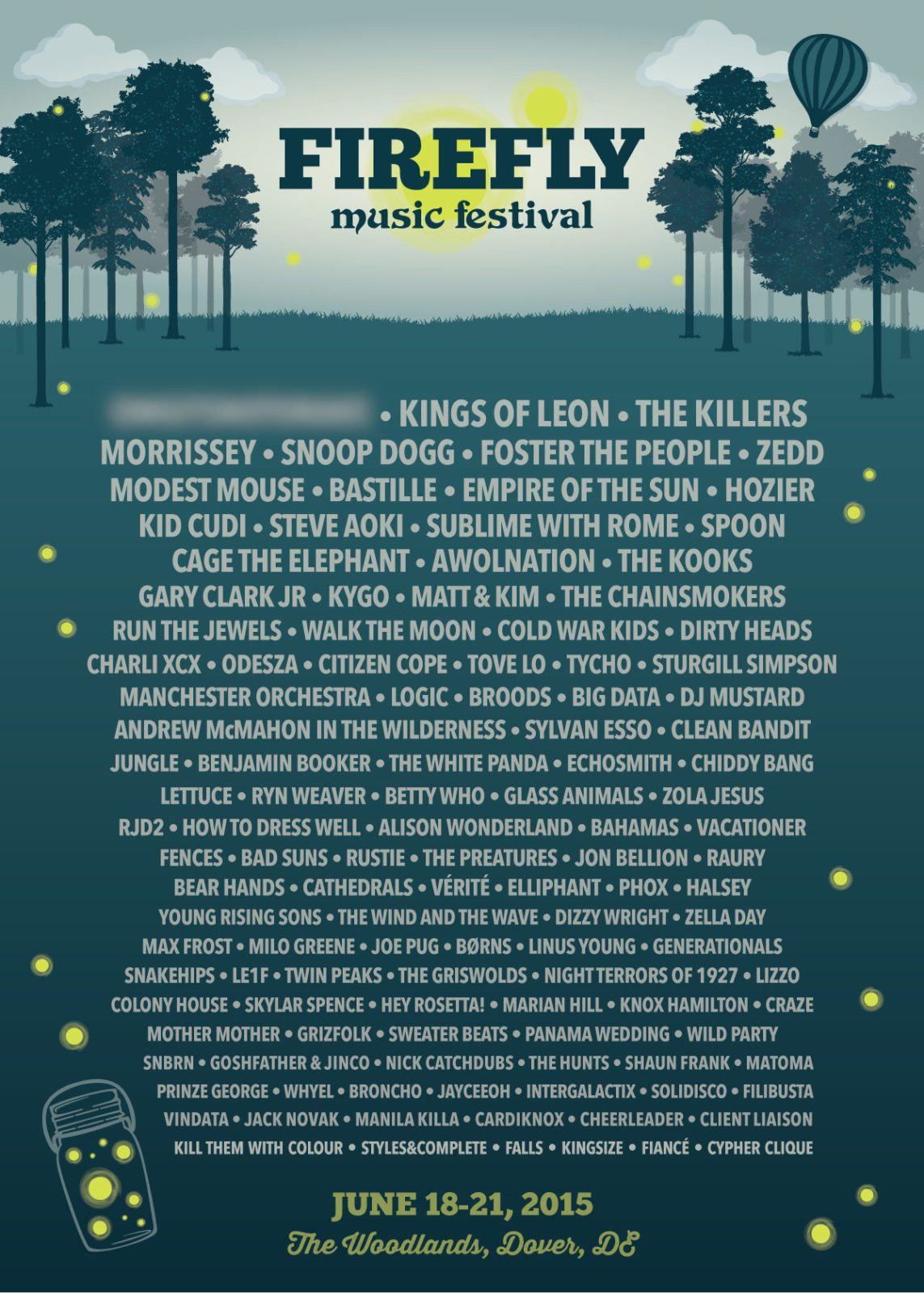 Firefly Music Festival 2015 Lineup! Morrisey, Snoop Dogg, Kings Of Leon, Modest Mouse