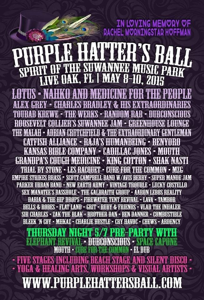 Purple Hatters Ball 2015 Festival Poster