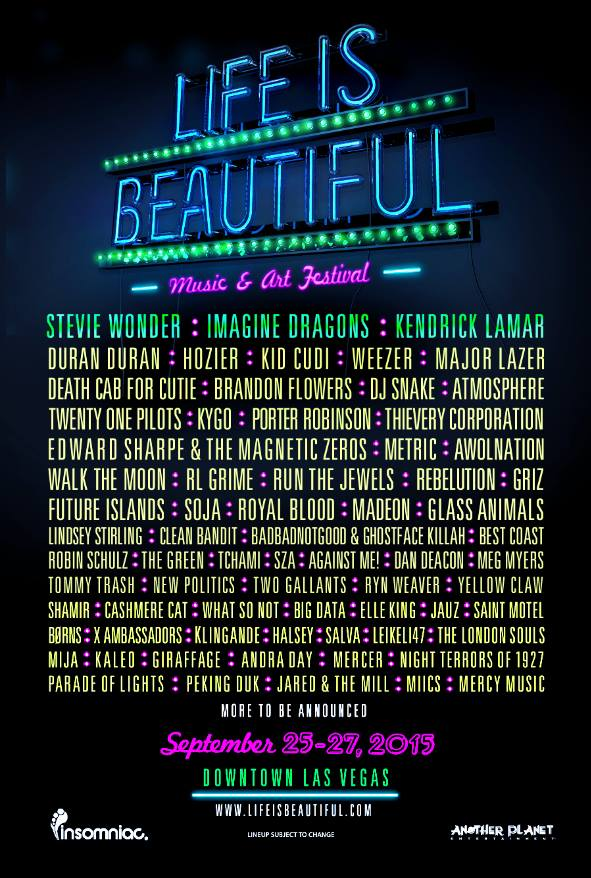Life is Beautiful 2015 Festival Poster