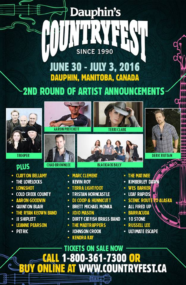 Dauphin's Countryfest 2016 Festival Poster