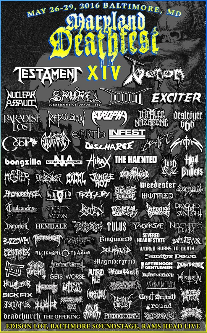 Maryland Deathfest 2016 Festival Poster