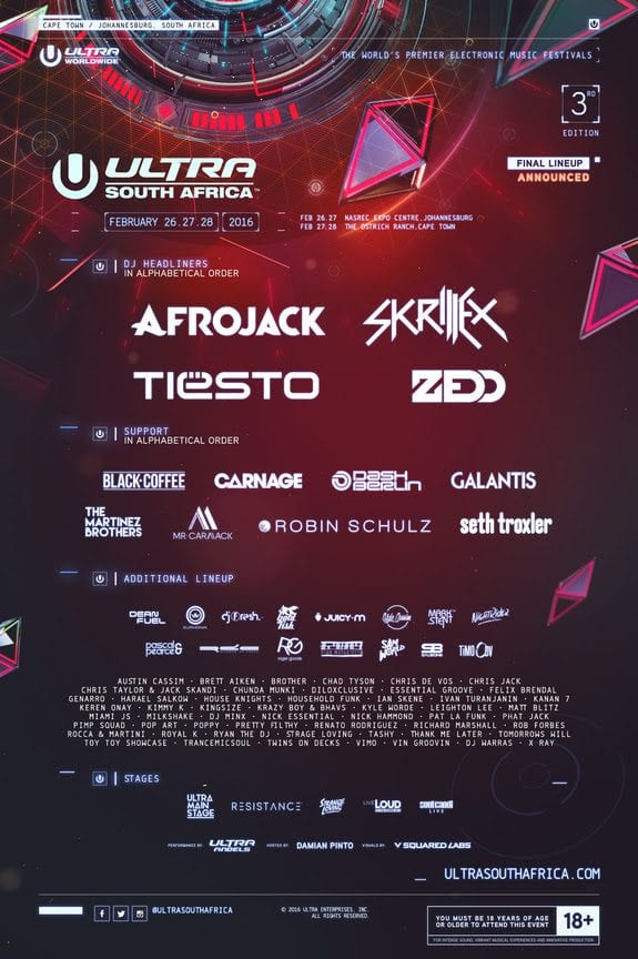 Ultra South Africa 2016 Festival Poster