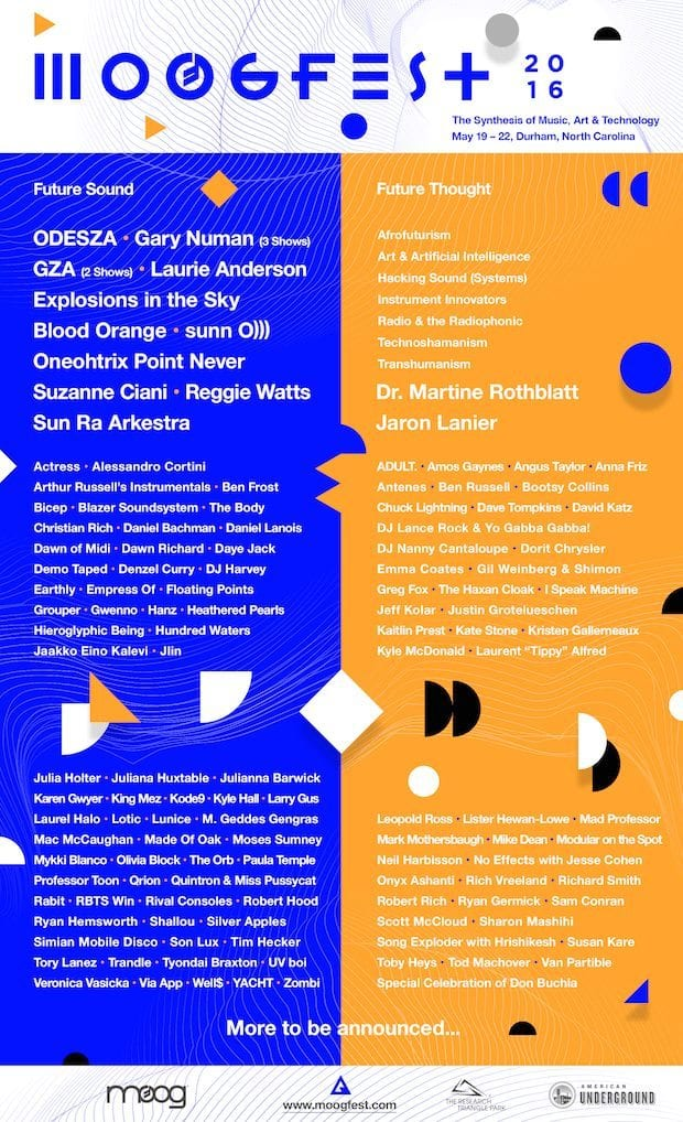 Moogfest 2016 Announces Music And Technology Lineup