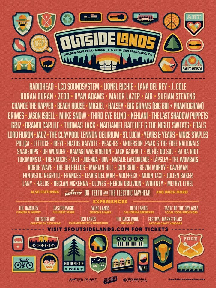 Outside Lands 2016 Festival Poster