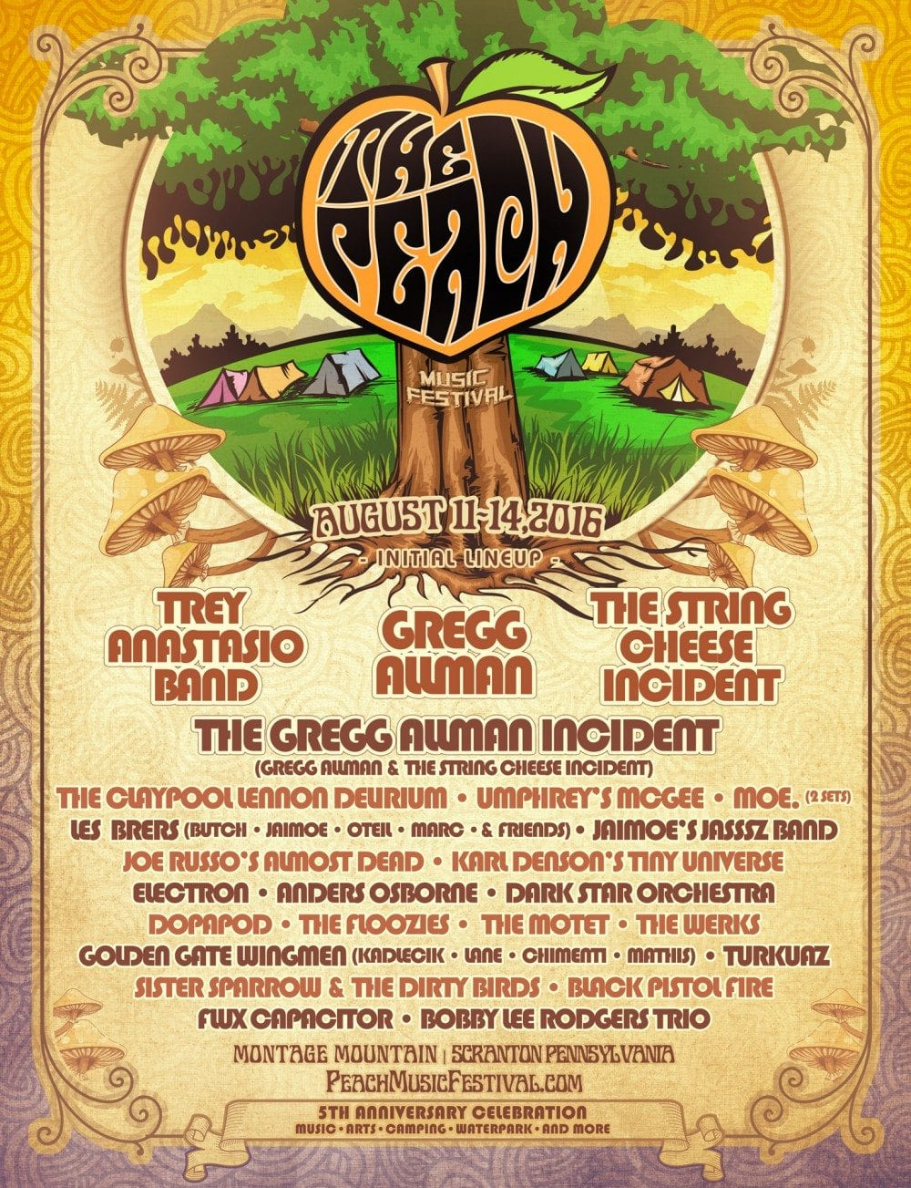 The Peach Music Festival 2016 Festival Poster