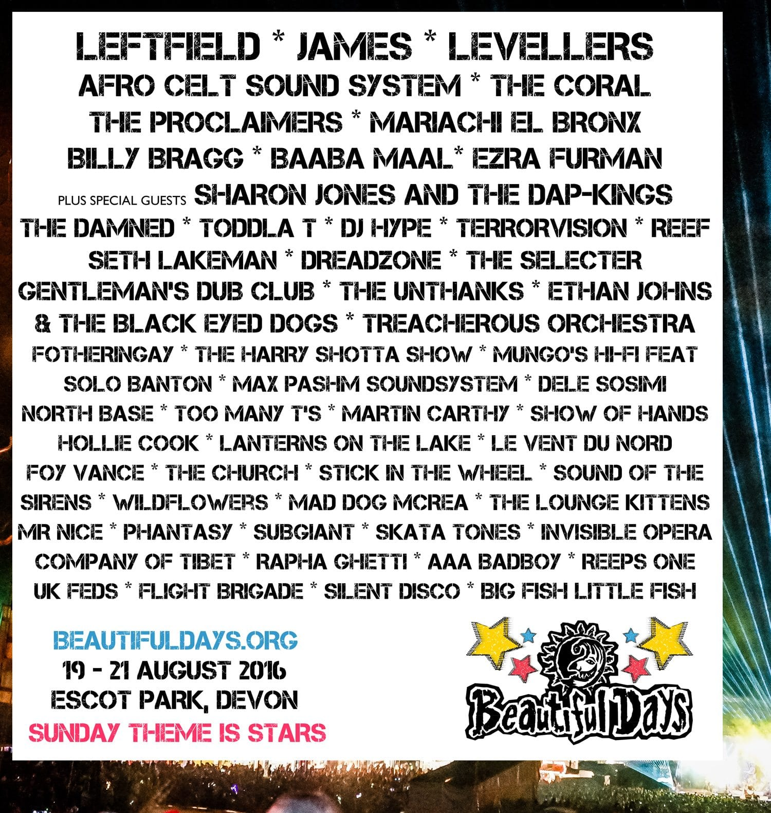 Beautiful Days 2016 Festival Poster
