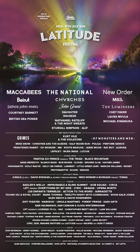 Latitude Festival 2016 Lineup Poster