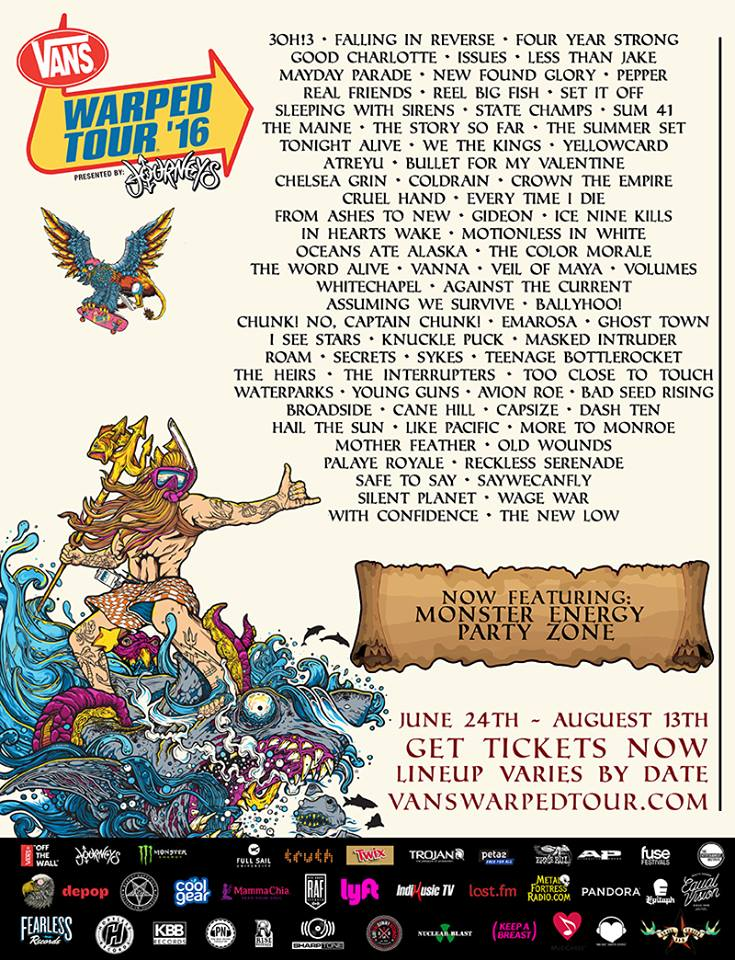 Warped Tour 2016 Festival Poster