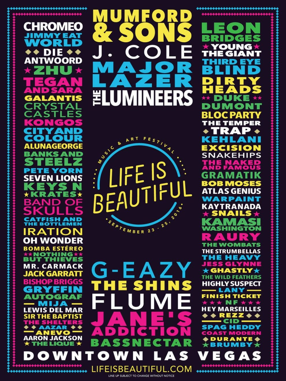 Life is Beautiful Festival 2016 Festival Poster