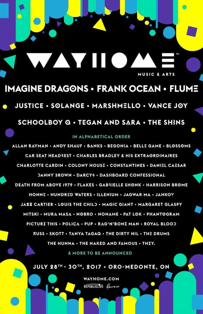 Imagine Dragons, Frank Ocean, and Flume are Heading WayHome This Summer