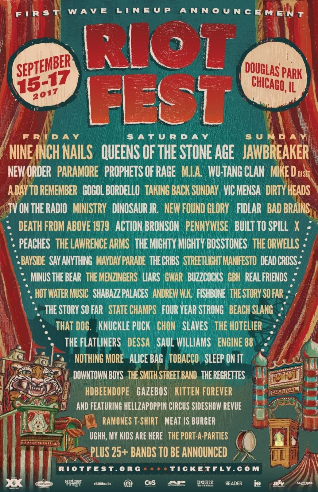 Riot Fest 2017 Lineup Poster