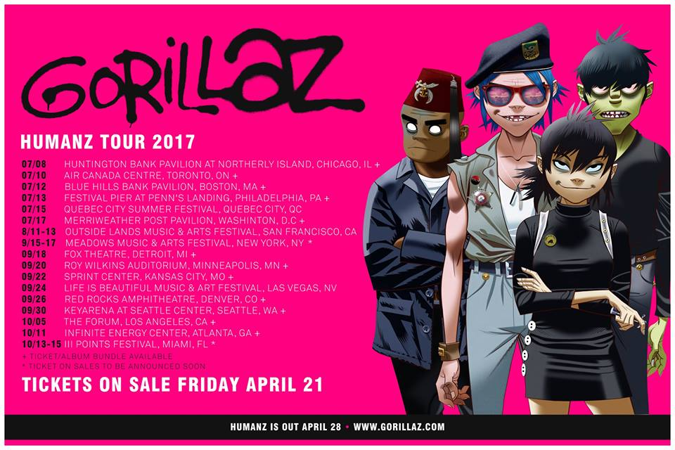 Gorillaz World Tour Lineup Poster